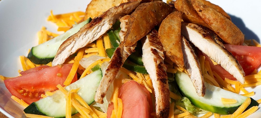 Chicken Fry Salad with Cheese