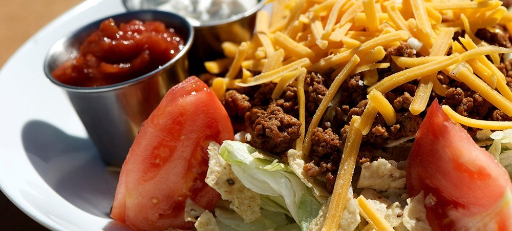 Taco Salad with Cheese and Sour cream