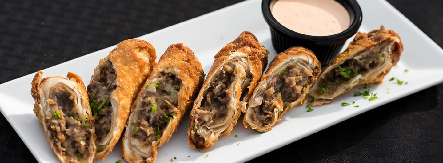 Cheesesteak Spring Rolls with Sriracha Ranch