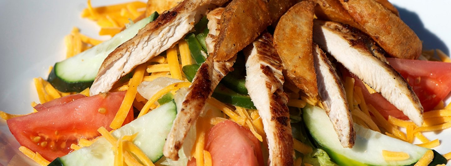 Chicken Fry Salad with Tomatoes